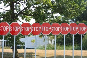 Line of stop signs