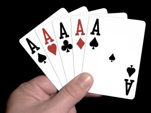 Card hand with 5 Aces