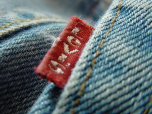 Brand name tag on Levi's jeans