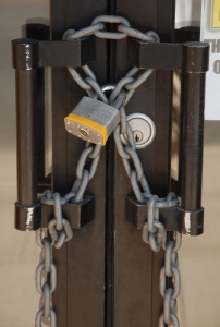 Chain and padlock securing double doors