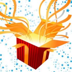 Open gift box with streamers coming out