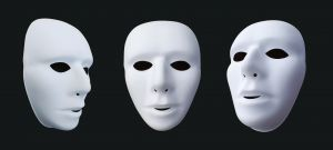 Three theater masks