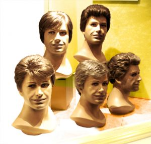 Mannequin heads with men's hair styles