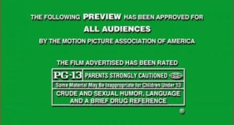 Movie trailer PG-13 rating card