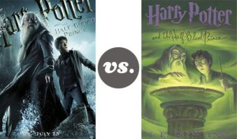 Harry Potter Half Blood Prince movie poster vs. book cover