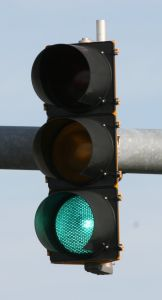 Green traffic signal light