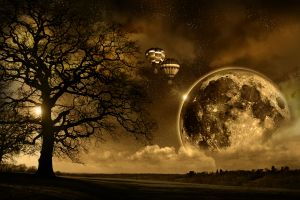 Sepia-toned drawing of nighttime on fantasy planet with large moon and hot air balloons
