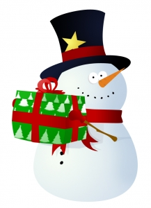 Cartoon snowman holding wrapped gift box
