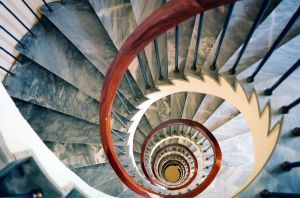 View down the center of spiral stairs