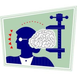 Cartoon graphic of woman's brain being squeezed in a vise grip