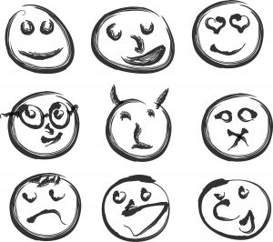 Stick figure drawings of crazy faces