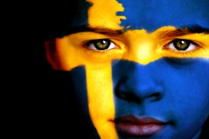 Swedish sports fan with painted face