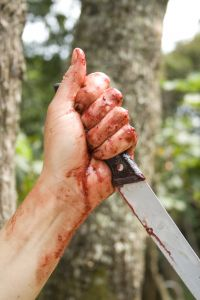 Bloody hand holding large knife