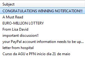 Screen shot of spam subject lines
