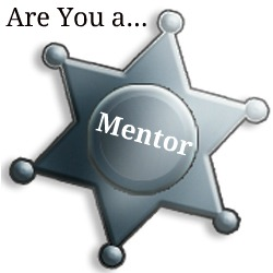 "Headline of ""Are You a..."" over a blank Sheriff badge with the text Mentor"