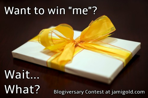 "Gift box with text ""Want to win 'me'? Wait... What?"""