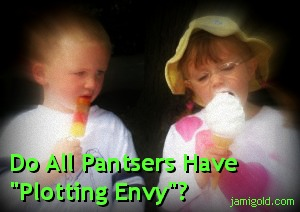 "Two kids with ice cream, one looking envious, with text: Do All Pantsers Have ""Plotting Envy""?"