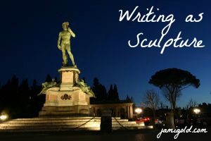 "Michelangelo's David sculpture at night with text ""Writing as Sculpture"""