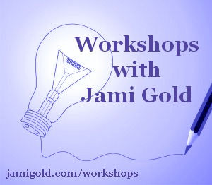 Pencil drawing a light bulb with text: Workshops with Jami Gold