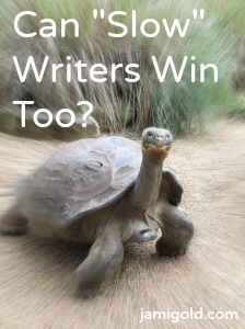 "Giant tortoise with text: Can ""Slow"" Writers Win Too?"
