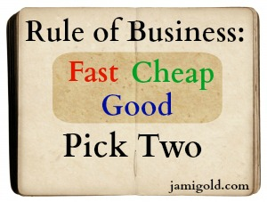 Blank book graphic with text: Rule of Business: Fast Cheap Good--Pick Two