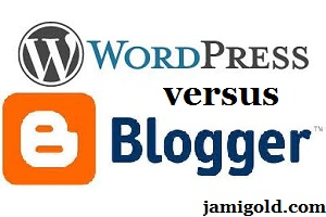 "WordPress logo with text ""versus"" and Blogger logo"