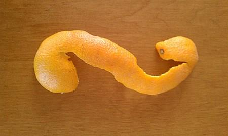 """Clementine peel in an """"S"""" shape"""