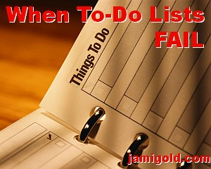 Page labeled Things To Do with text: When To-Do Lists FAIL