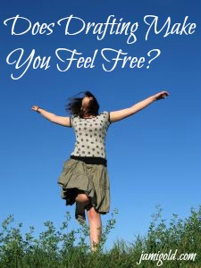 Woman leaping above a field with text: Does Drafting Make You Feel Free?