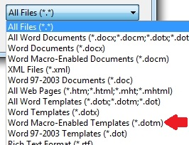 how to open dotm file