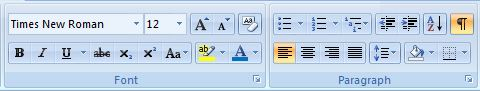 MS Word ribbon for font and paragraph settings