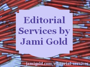 Red pens with text: Editorial Services by Jami Gold