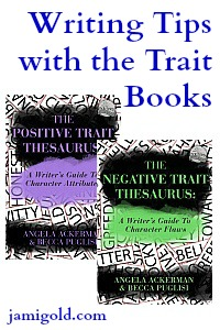 Covers of the Positive and Negative Trait books with text: Writing Tips with the Trait books