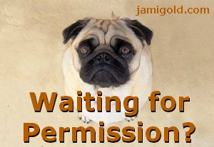 Begging pug dog with text: Waiting for Permission?