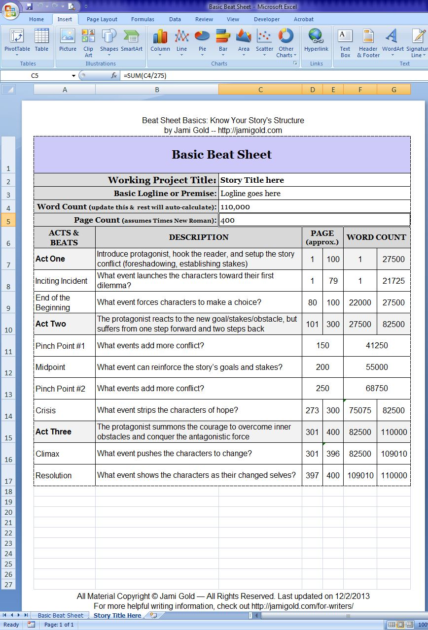 Full screen of the Basic Beat Sheet file