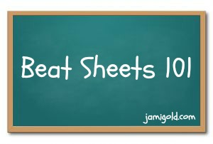 Green chalkboard with text: Beat Sheets 101