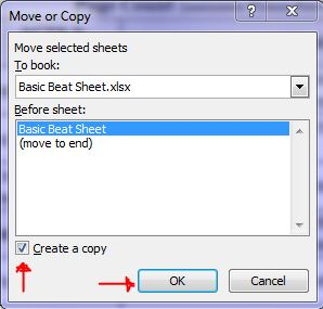Move or Copy dialog box