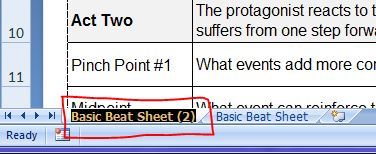 Highlighted sheet tab name