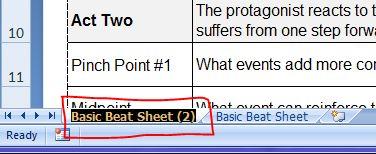 Highlighted sheet tab name