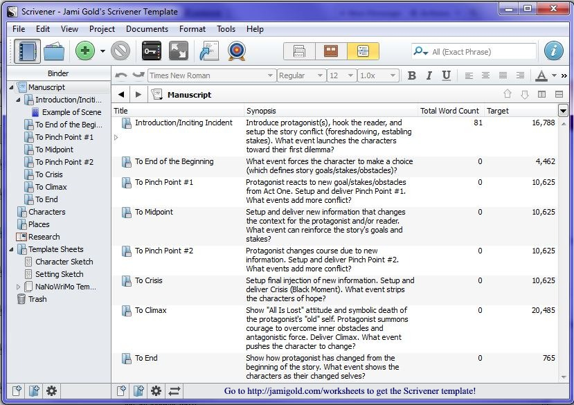 Screenshot of Scrivener Outliner view