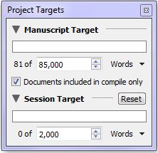 Scrivener Project Targets window