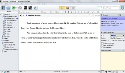 Screenshot of Scrivener template