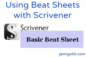Scrivener logo and Basic Beat Sheet title with text: Using Beat Sheets with Scrivener