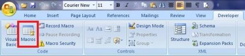 Macro button on the Developer tab