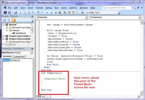 Screenshot of Visual Basic window