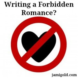 "Heart crossed out by a red circle ""no"" symbol with text: Writing a Forbidden Romance?"