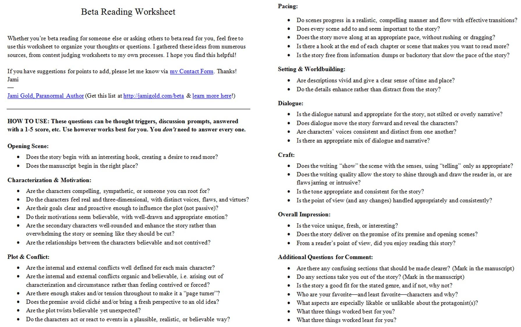 worksheet Plot Development Worksheet worksheets for writers jami gold paranormal author screen shot of the two page beta reading worksheet