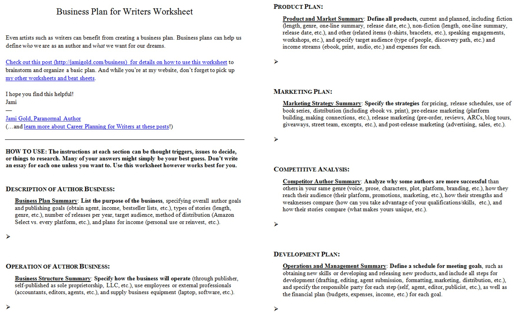 Screen shot of both pages of the Business Plan for Writers Worksheet