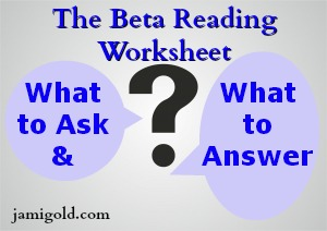 Question mark surrounded by text: The Beta Reading Worksheet -- What to Ask & What to Answer