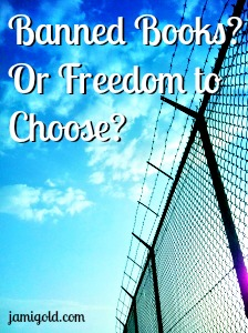 Blue sky beyond barbed wire fence with text: Banned Books? Or Freedom to Choose?